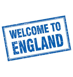 England blue square grunge welcome isolated stamp vector