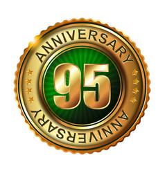 95 years anniversary golden label vector
