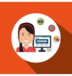 Person blogging on desktop computer isolated icon vector