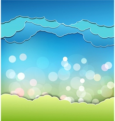 background with decoration sun blue sky and clouds vector image vector image