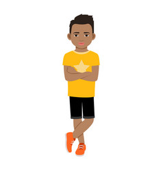 Black boy in yellow t-shirt vector
