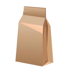 Brown paper bag for food isolated on white vector