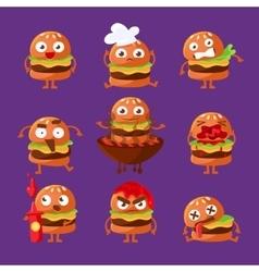 Burger fast food sandwich cartoon humanized vector