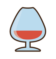 cartoon cognac glass cup drink vector image
