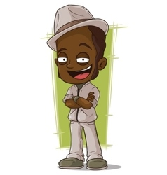 Cartoon smiling jazz man in hat vector