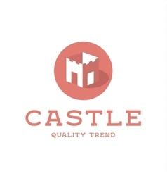 Castle fortress brand logo design trendy flat vector