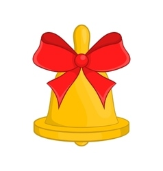 Christmas bell with red bow icon cartoon style vector image vector image