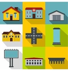 City public buildings icons set flat style vector