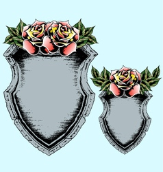 classic antique shield with rose vector image vector image