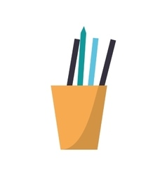 cup pencils pens utensils working vector image