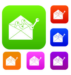 envellope with graph set collection vector image vector image