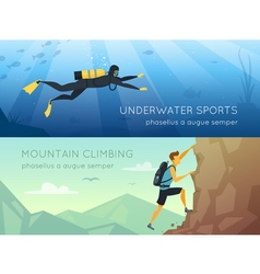 Extreme sports 2 flat horizontal banners vector