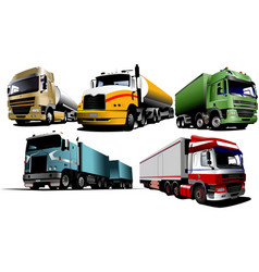 five trucks on the road vector image