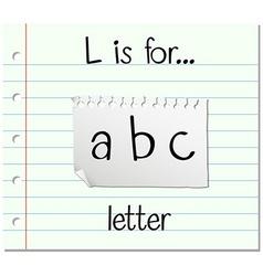 Flashcard letter L is for letter vector image