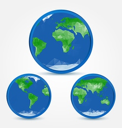 Globe earth abstact icons in polygonal style - vector