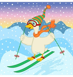 Goose ski jumping vector