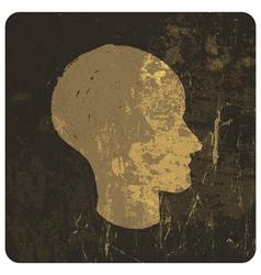 grunge head symbol vector image