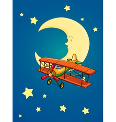 moon and aeroplane vector image vector image