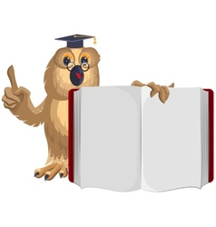 Owl teacher holding open book and shows up vector image