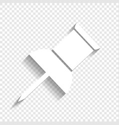 Pin push sign white icon with soft shadow vector