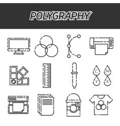 Polygraphy flat icons set vector