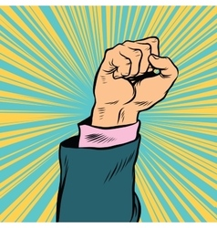 Pop art fist up a symbol of protest vector image