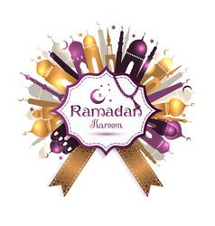 Ramadan Kareem frame with mosque vector image