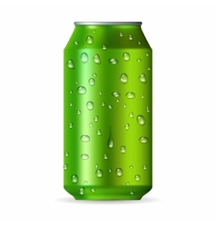 Realistic green aluminum can with drops vector