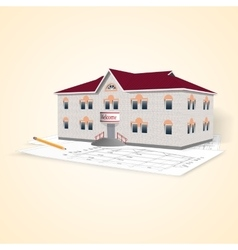 Realistic separately standing brick office vector