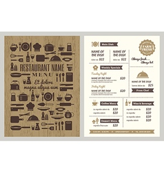 Restaurant menu with silhouette kitchen utensils vector