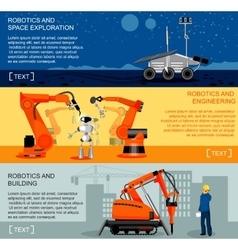Robotics and automation horizontal banners set vector