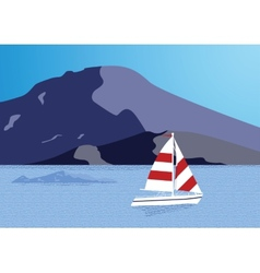Sea background with yacht vector image vector image