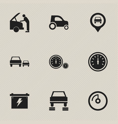 set of 9 editable traffic icons includes symbols vector image