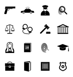 Silhouette black law and justice icon set vector
