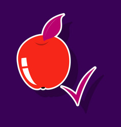 Sticker apple with leaf realistic fresh vector