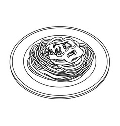 The dish in which wheat spaghetti with red sauce vector