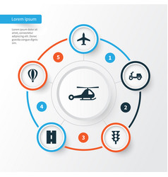 Transportation icons set collection of way vector