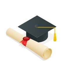 University student cap mortar board and diploma vector image