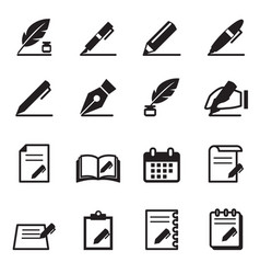 Writing icons set vector