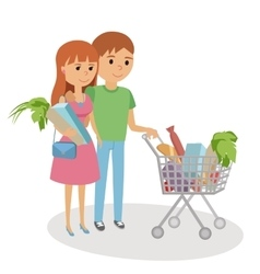 Young woman and man shopping for groceries vector