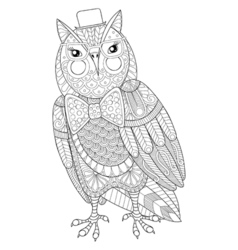Zentangle Owl painting for adult anti stress vector image vector image
