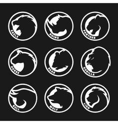 Set animal logos on a dark background Eagle vector image