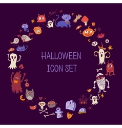 Halloween doodle icons Round border out of items vector image