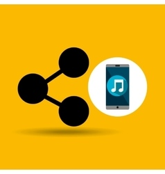 Smartphone music online share vector