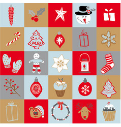 set of doodle elements christmas vector image