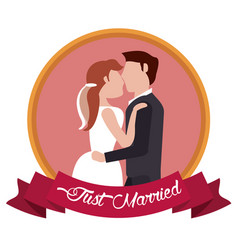 just married couple embraced label vector image