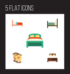 Flat bed set of bed furniture crib and other vector
