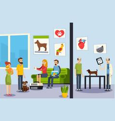 Vet clinic flat orthogonal poster vector