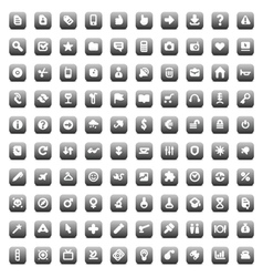 100 web business media and leisure icons vector image