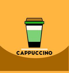 Flat icon design collection cappuccino to go vector